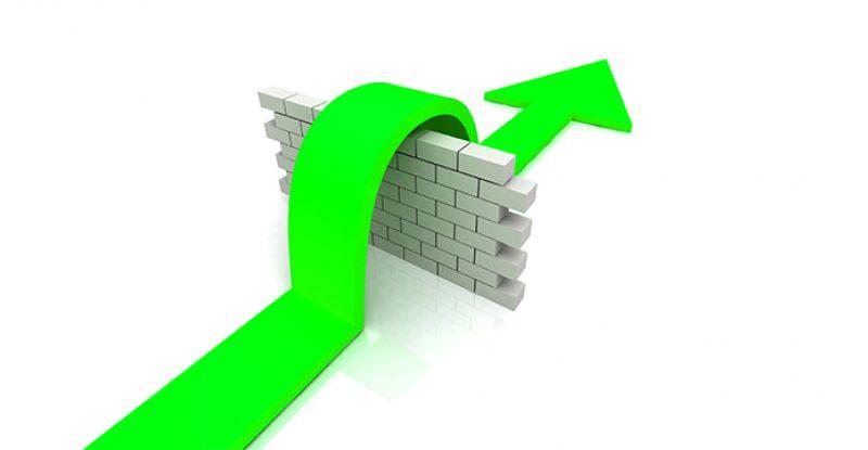 Green Arrow Over Wall