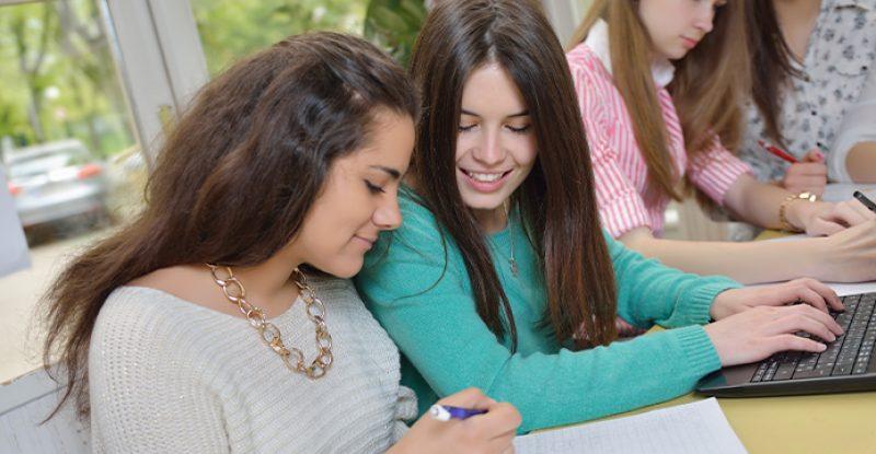 Teen Girls Studying